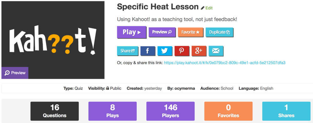 Click on the image above to link to the Specific Heat Kahoot! Lesson I used in class today.