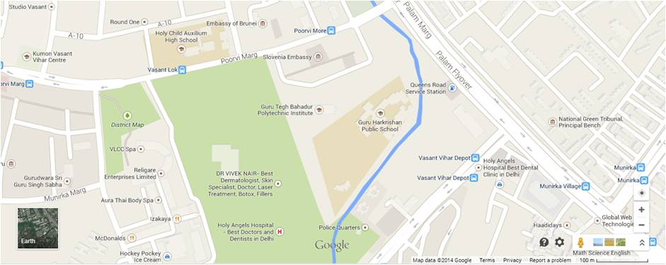 Urban poche' in Vasant Vihar Delhi : The google map above shows the important 'planned' VasantVihar and the Public school with a blue line depicting the nala or a planned rainwater drainage channel.