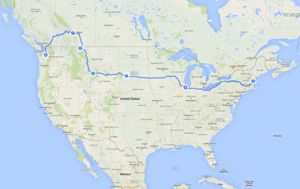 Our Major Road Trip Stops Courtesy of Google Maps