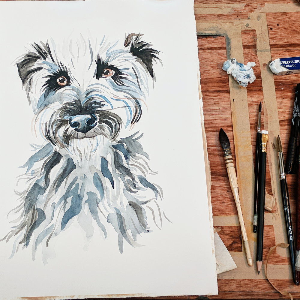 custom watercolour pet portrait melbourne