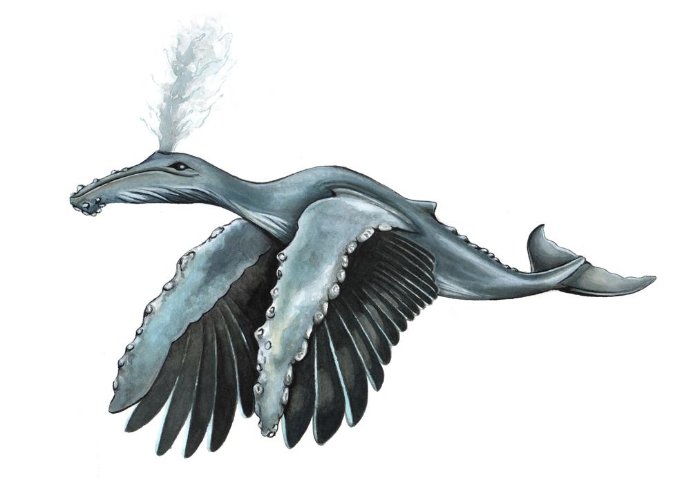 Whale-stork animal hybrid