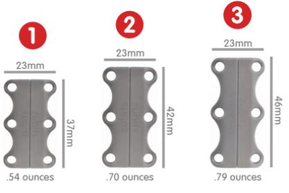 Size#1 Sサイズ (本体の磁力= Zubits使用時の片足の磁石両側が引き合う磁力5kg相当)  4歳-8歳までのお子様とお年寄りに勧め ウォーキングなどの普段使いに最適なサイズ (商品本体の重さ:約15g)   Size#2 Mサイズ( 本体の磁力= Zubits使用時の片足の磁石両側が引き合う磁力6kg相当)  9歳以上のお子様と軽い運動人にお勧め ランニング・ ジムでのレッスンに最適なサイズ (商品本体の重さ:約20g)   Size#3 Lサイズ (本体の磁力= Zubits使用時の片足の磁石両側が引き合う磁力7kg相当) 体重86kg以上の方、身長の高い方 思いっきりスポーツを楽しみたい方にお勧め 靴底が固い靴にも最適なサイズ (商品本体の重さ:約22g)