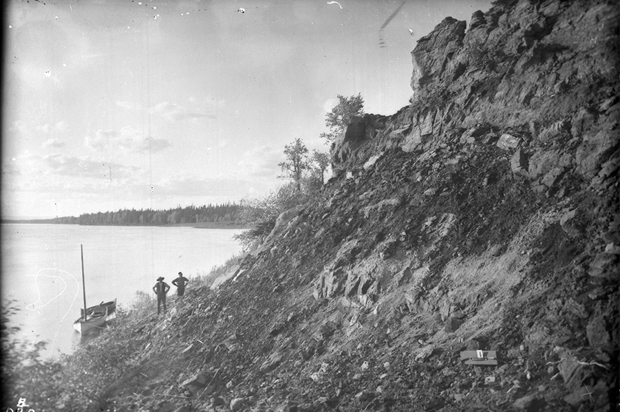 1892: The photo shows tar sands along the Athabasca River in Alberta,  D.B. Dowling, Geological Survey of Canada, library and archives Canada