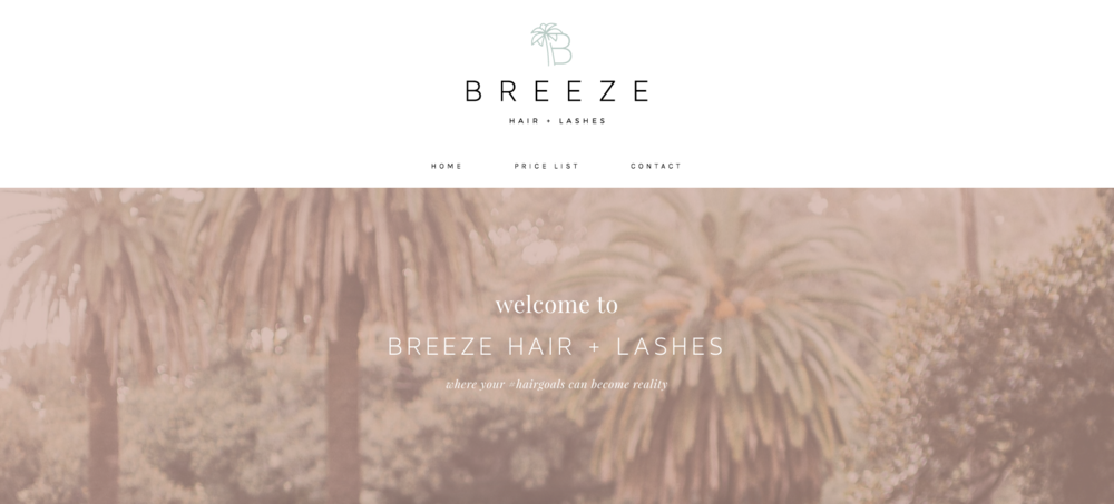 BREEZE HAIR + LASHES - BEAUTY WEBSITE