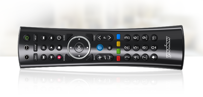 STEP 1 : PRESS THE 'Y' BLUE BUTTON ON YOUR REMOTE CONTROL, SCROLL RIGHT AND PRESS 'BT'.