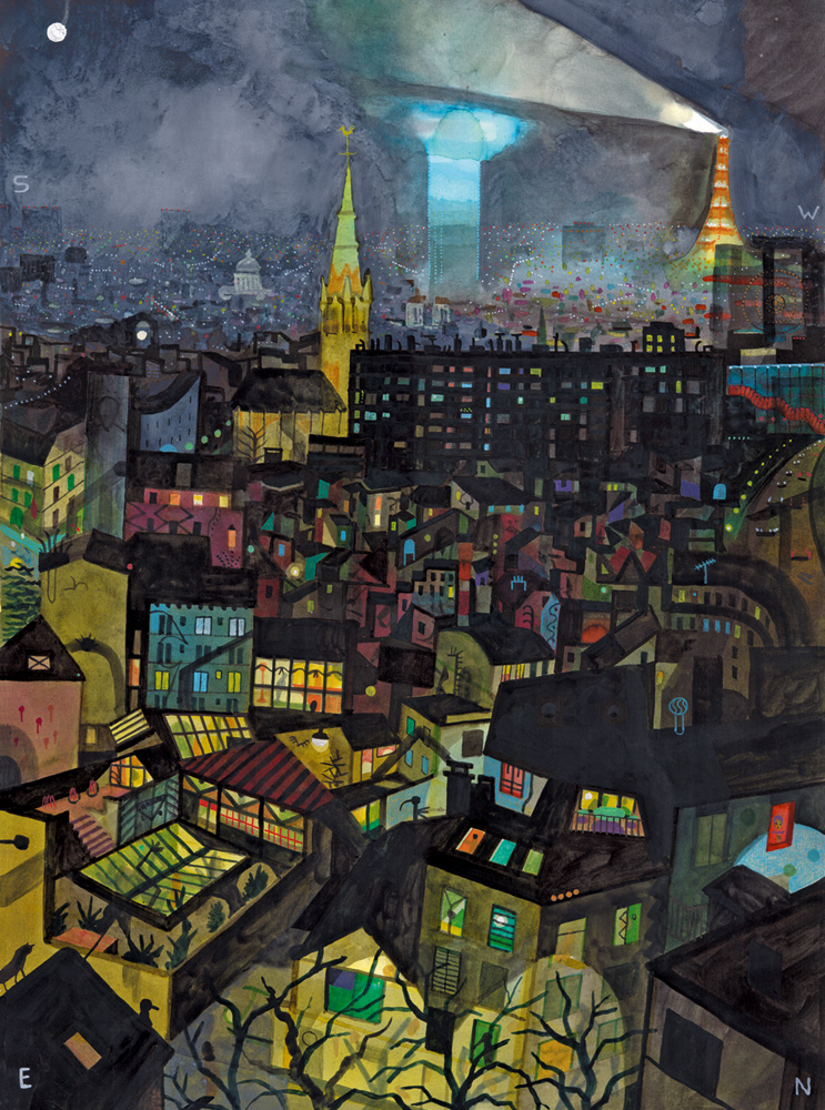 Paris, Nuit    sérigraphie 48 x 63 cm,  by Squadro Stamperia, Bologna  Limited edition of 100 (signed and numbered)  190 €  contact  Galerie Martel