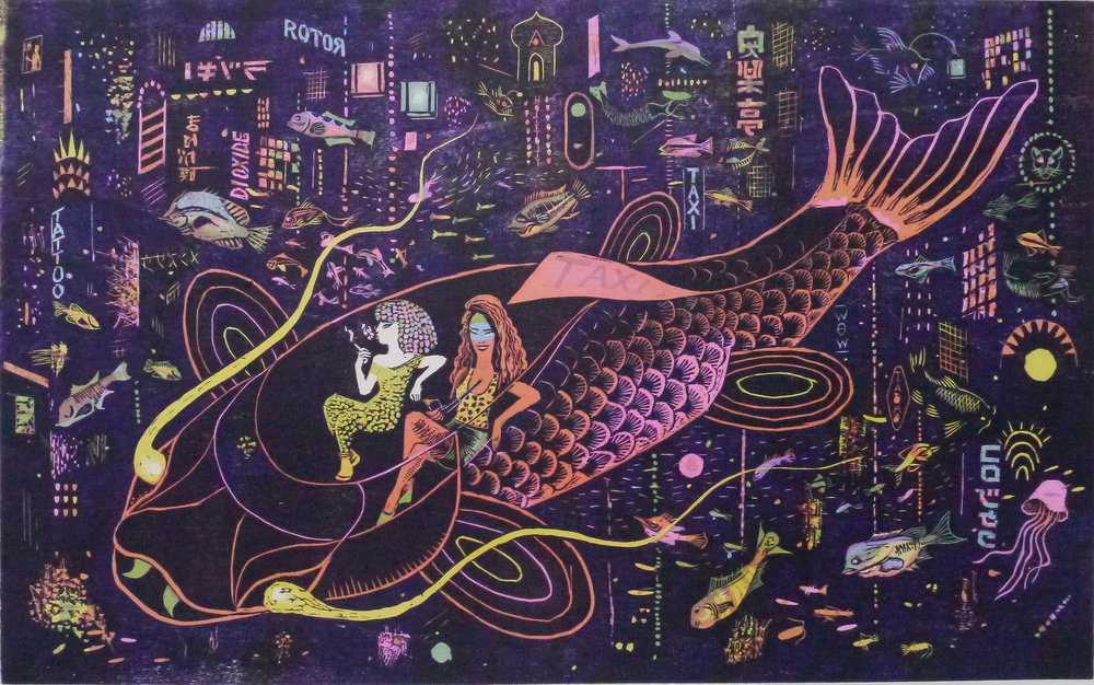 Rigoles Taxi,  purple version, 2017   Woodcut (on Velin BFK Rives paper 250g.)  50x76 cm  Limited edition of 36  800 €  Contact  Atelier Michael Woolworth.