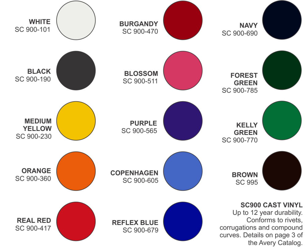 Avery Cast Vinyl Color Chart