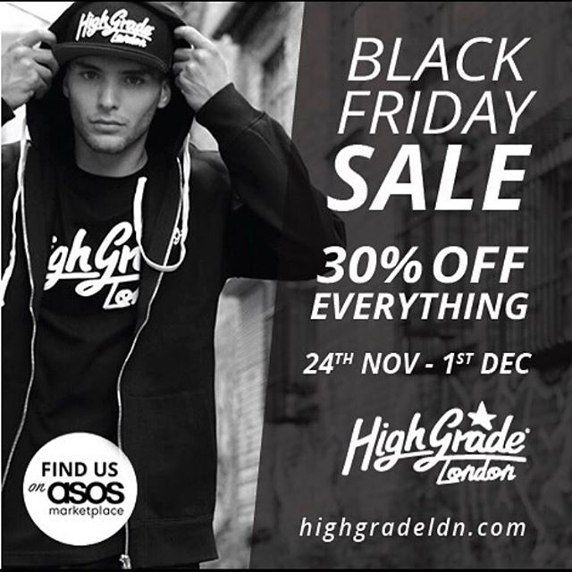 Black Friday sale now live. 30% off everything website wide (no code required) grab your Xmas bargains while you can. #HighGradeLDN #blackfriday #sale