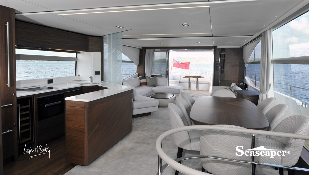 The light and airy saloon, the galley features sliding frosted glass panes and the floor is level throughout.