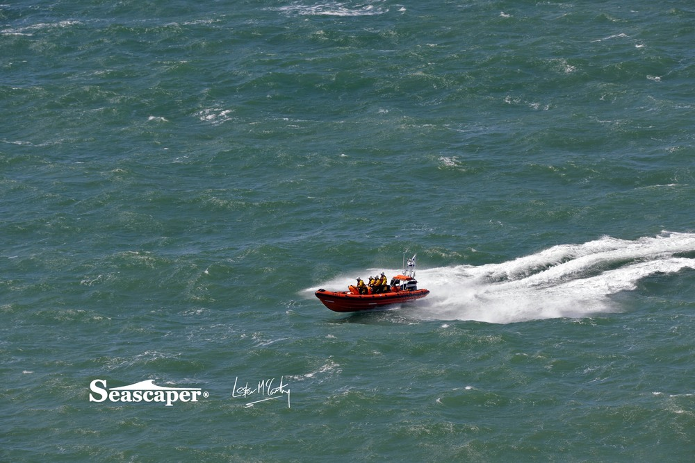 Some big seas, a strong Force 6, but not a problem for a RNLI Atlantic rib.