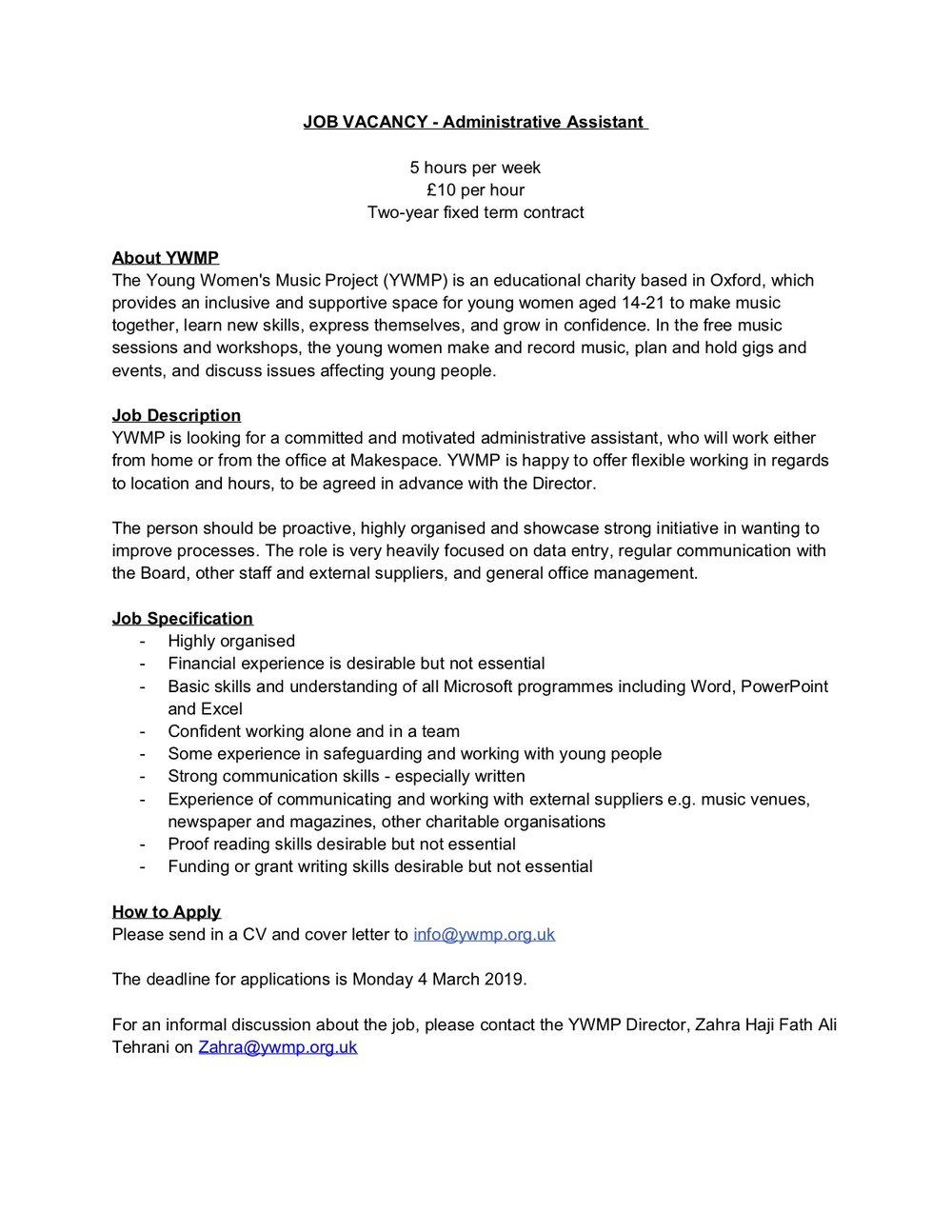 YWMP JOB VACANCY - Administrative Assistant.jpg