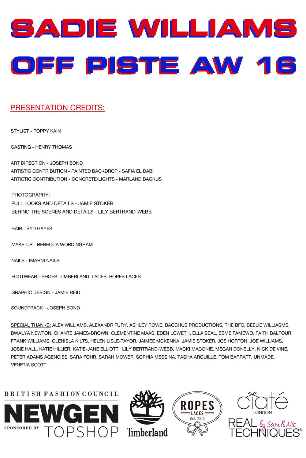 SADIE WILLIAMS 'OFF PISTE' PRESENTATION CREDITS