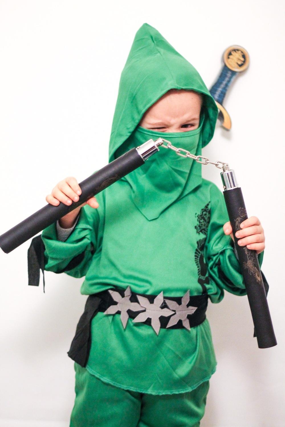 The kid is crazy about ninjas. For real. I wish I was better at sewing - then I'd make him a really cool Ninjago getup. Oh, and for those of you wondering; the nunchuks are soft foam so no worries.