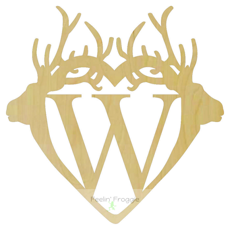 Double Deer Antler Connected Monogram Wood Cutout, Wall/Door/Country ...