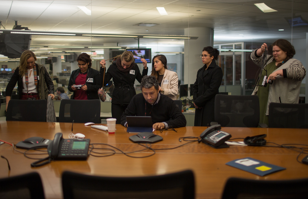 Waiting for the international meeting at the Associated Press in Manhattan, N.Y. on Oct. 19, 2015.
