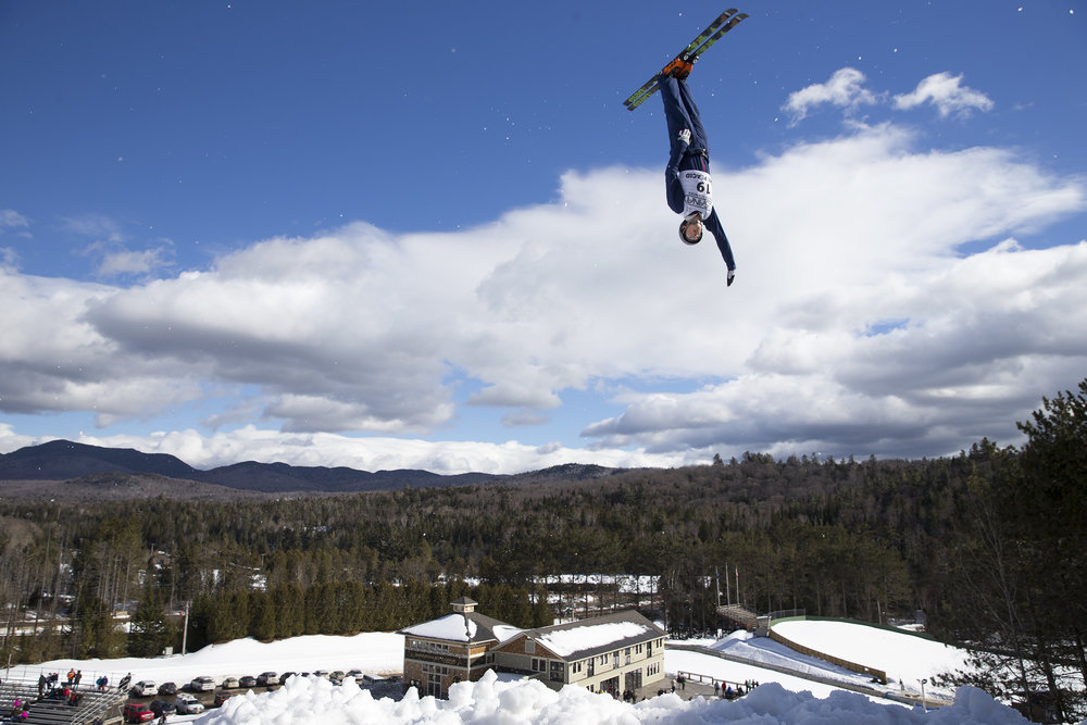 Jasper Holcomb, Olympic Aerial Skier,in action the at the Olympic Jumping Complex in Lake Placid, N.Y. on Feb. 19, 2017.