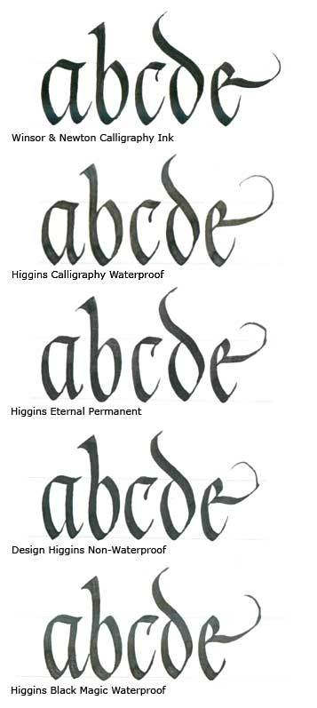 Taken from the  Calligraphy Pen Blog . Notice how different in appearance your inks can appear. This image has not been retouched in any way.