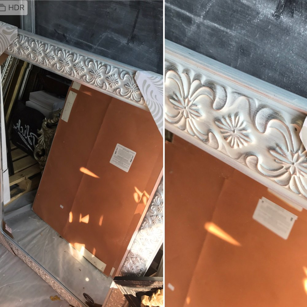 Photo of the mirror subject for painting. Again, any hint of an ornate pattern on these mirrors no matter the color and I'm likely painting. The mirror that I'm finding are so contemporary now, I have no choice. I like that this one was white too. Blank canvas so to speak.