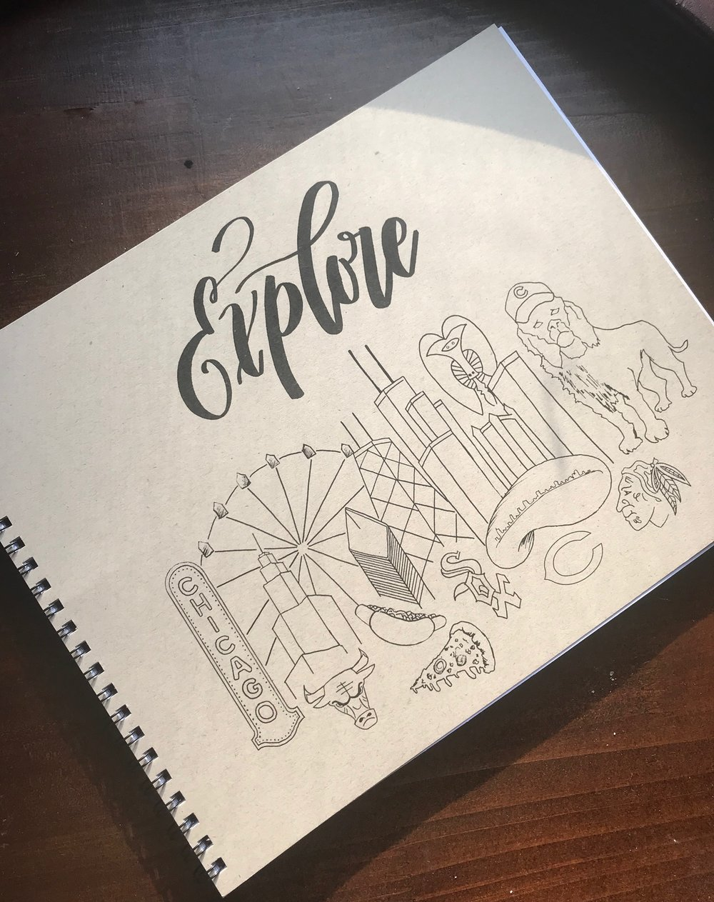 I based the cover of this sketchbook from a  drawing I did on a welcome mirror at Venue SIX10  last year! I took a pic of the mirror, scanned it in my computer, cleaned it up and added to it. Being a native Chicagoan I was pretty proud of how it came out. Perfectly imperfect but captures the essence of our hard working, much maligned, world class city. Only 2 left in stock, order today!