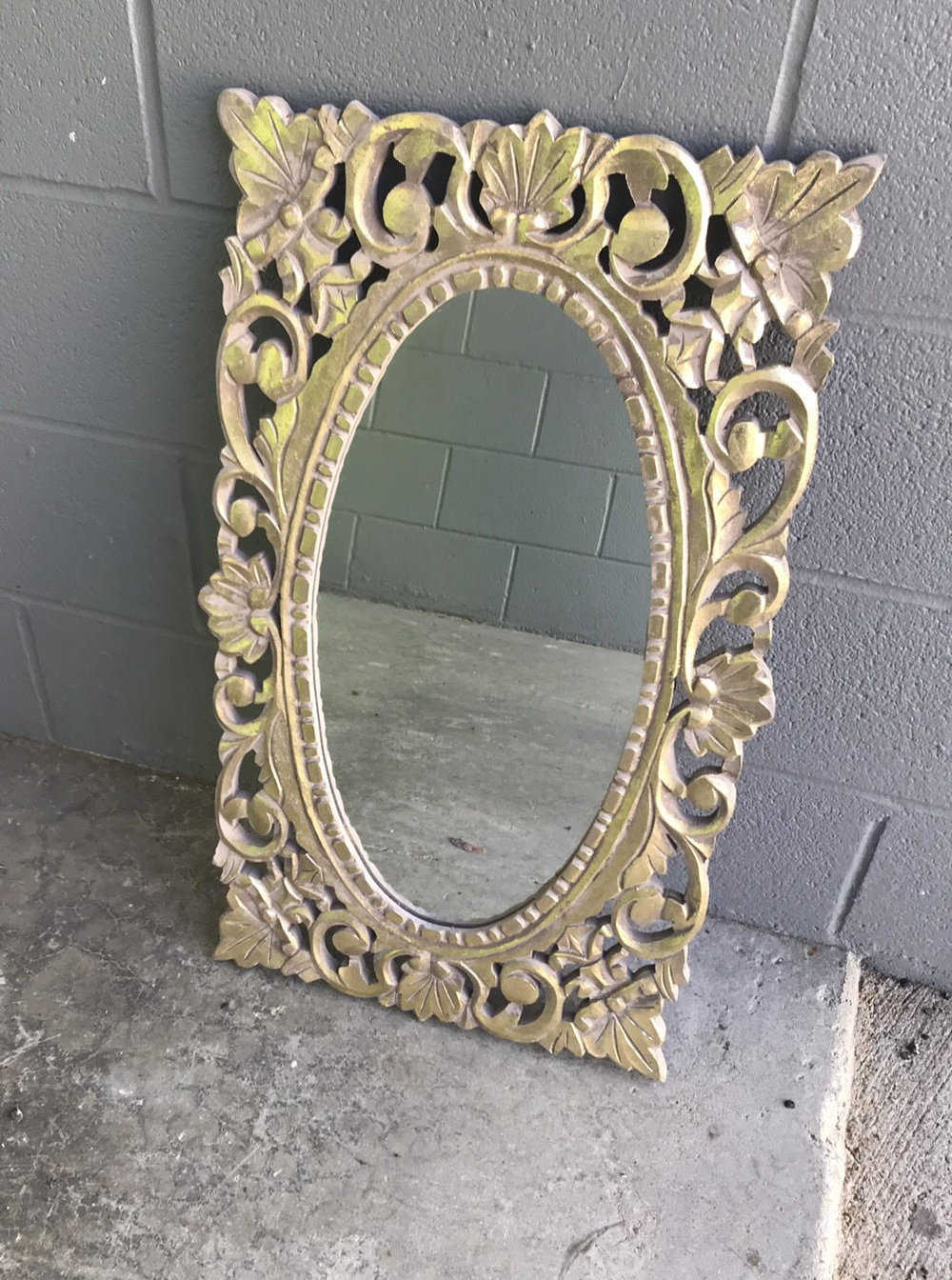 "Gold ornate mirror that's great for the bar or your memorial. $25 | 13"" x 18"" 