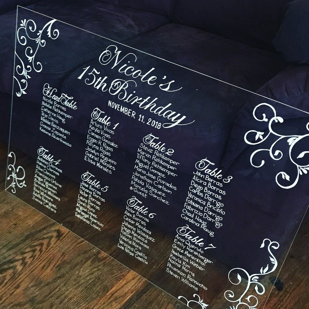 "Frameless Acrylic Sign. Item# AC003 30"" x 40"" size. $60"