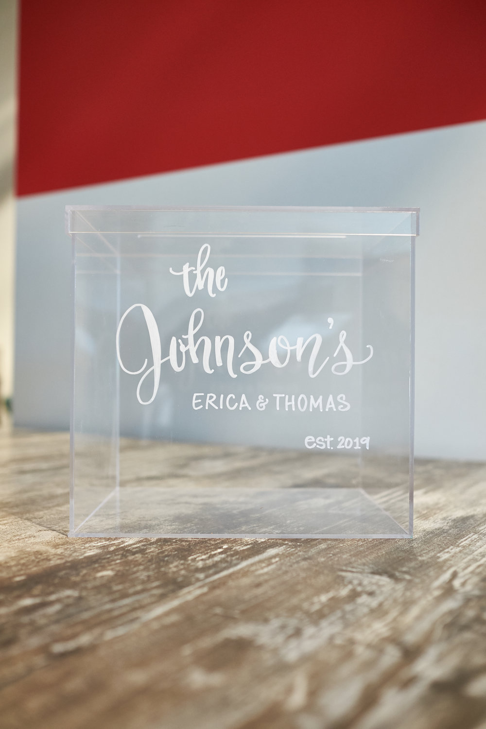 "Acrylic gift card box with removeable lid. Dimensions: 9.75"" x 9.5"" x 8.25"" inches 