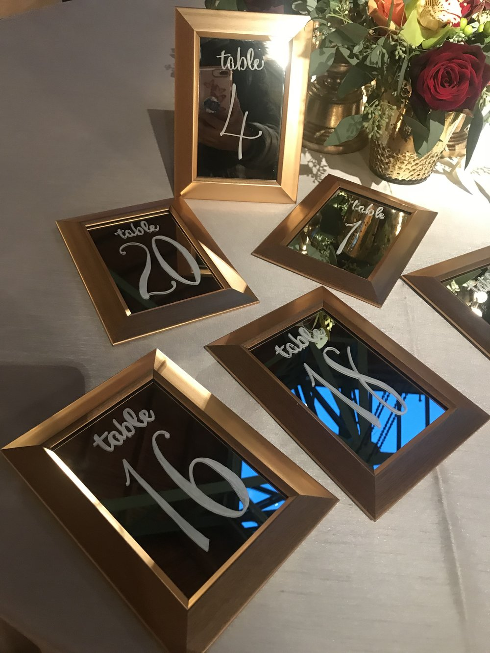 "4"" x 6"" Gold beveled frames with mirrors. Self easel. Perfect for your tables. $3.25 ea + lettering. 
