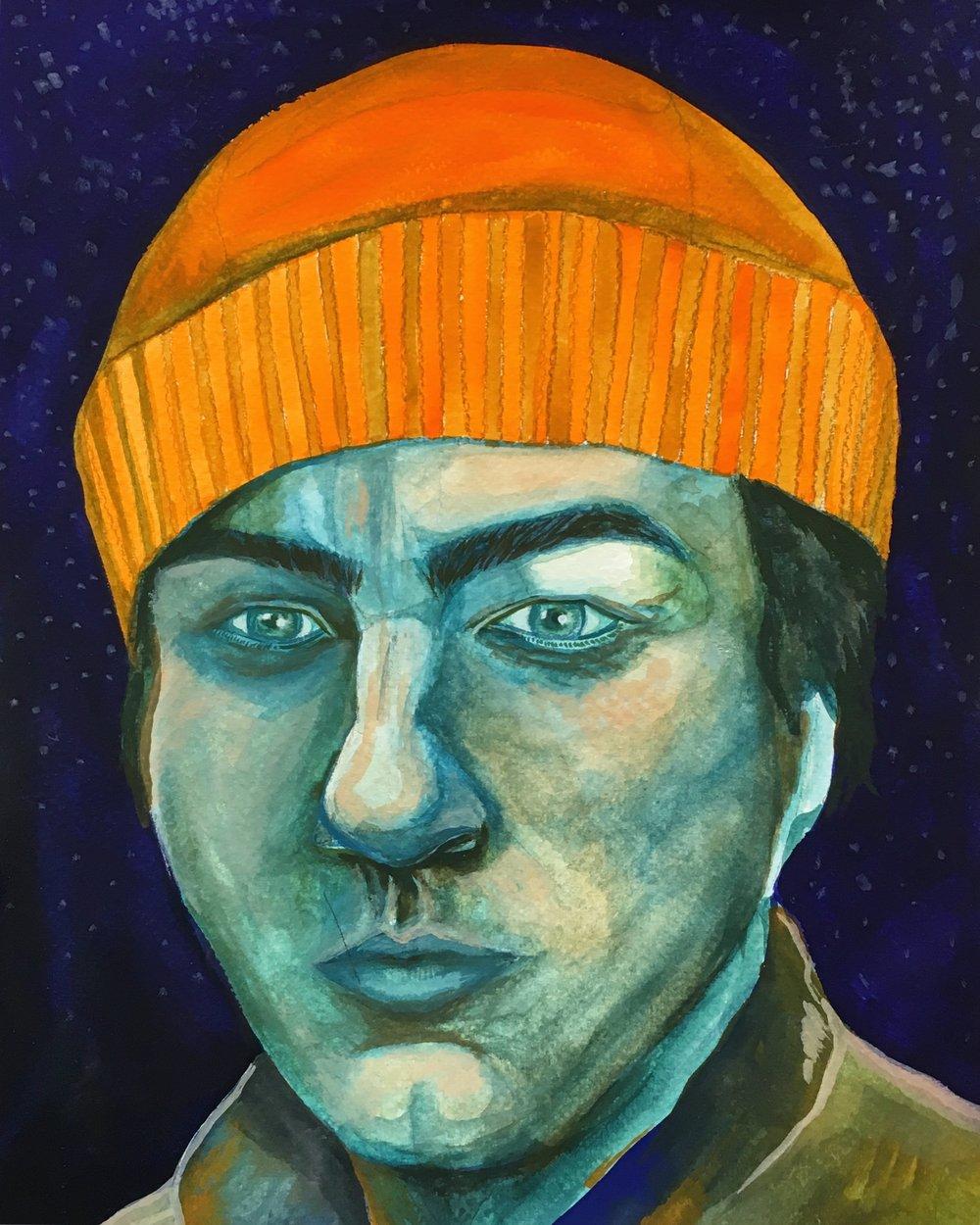 "Sam . Gouache on watercolor paper. 9"" x 12"",2018."