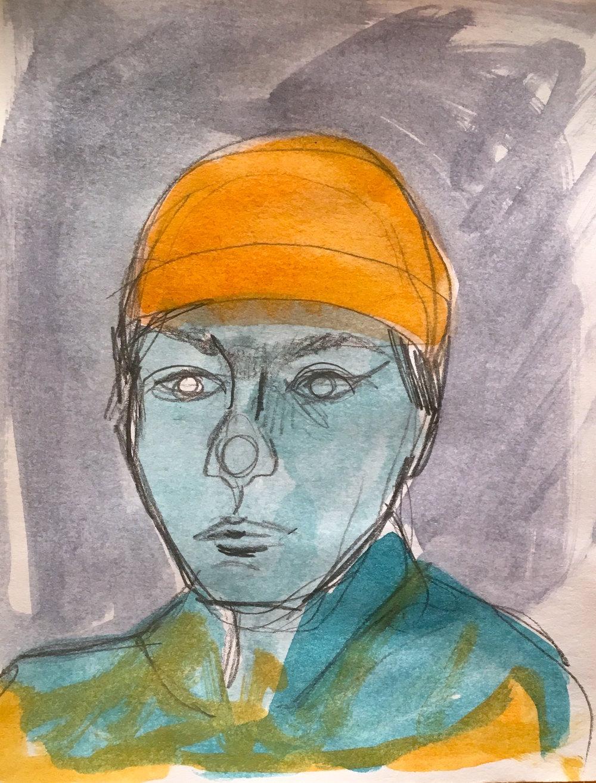 Gouache Portrait Sketch Example - Greta Grant 2018