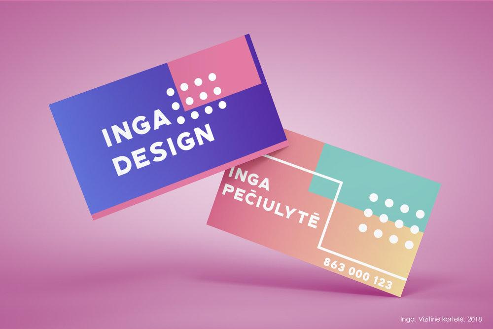 Vizitinės kortelės dizainas. Inga