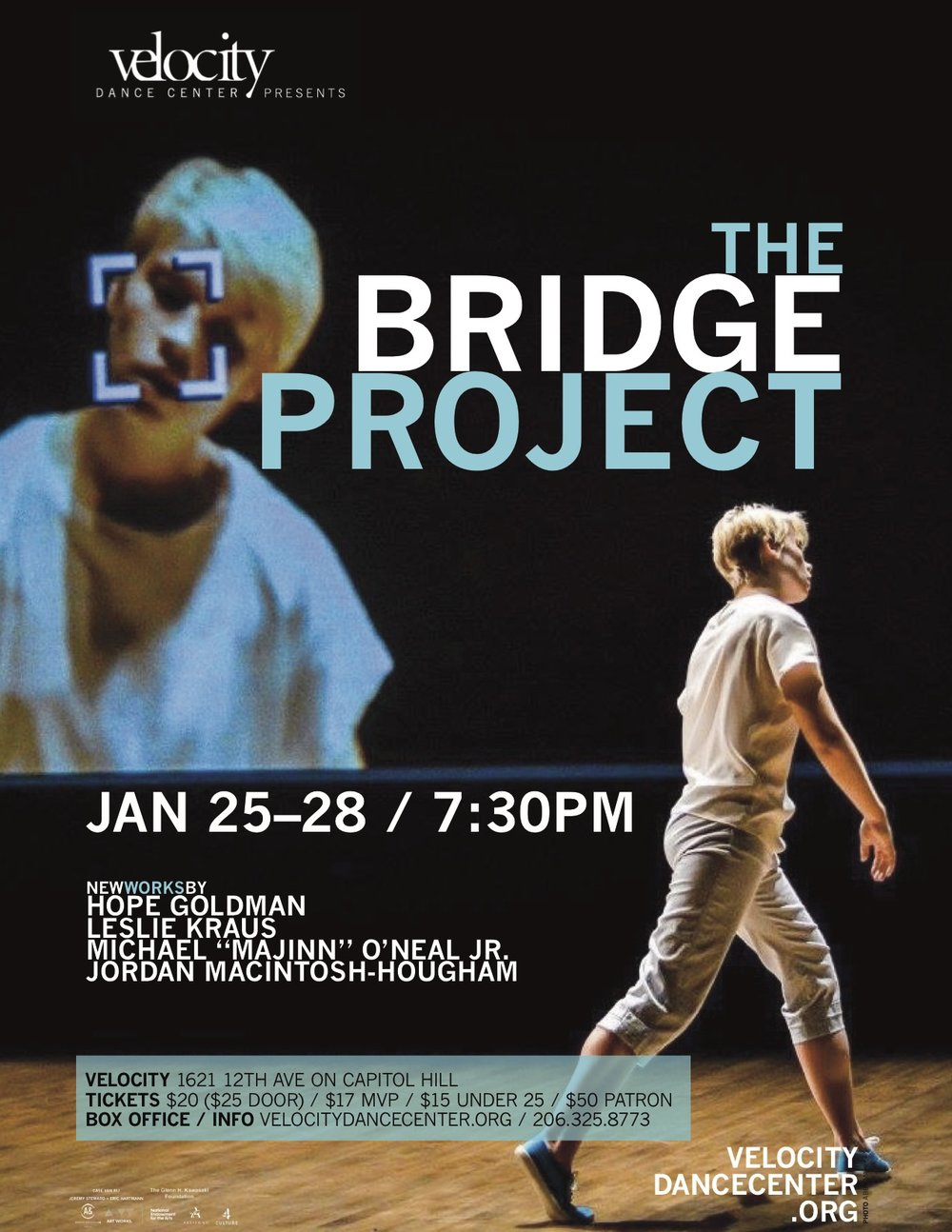 "photo of dancer jordan macintosh-houghham used in Advertisement for ""the bridge project"" in seattle, wa"