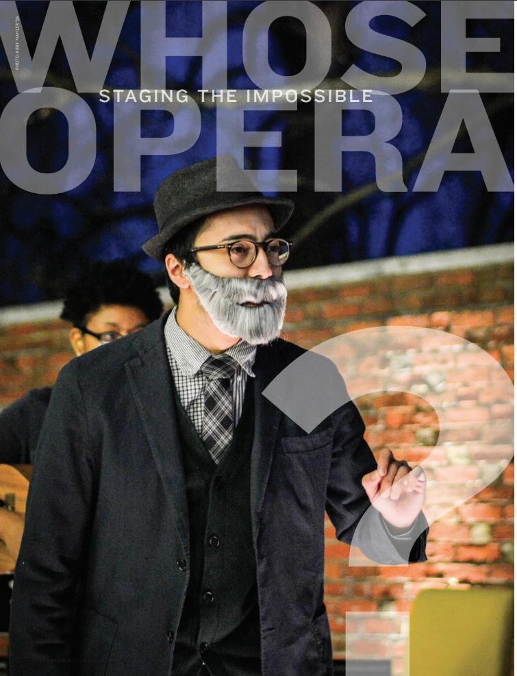 "Photo of Luca Sato-Nioi in ""whose Opera"" at bennington college, in the bennington magazine"