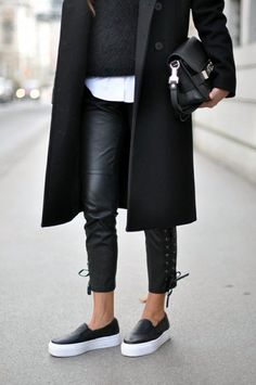 Black Platorm Slip-On Sneakers. Street Style.