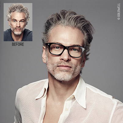 This image from the Goldwell Grey Campaign demonstrates grey camouflaging/grey blending.