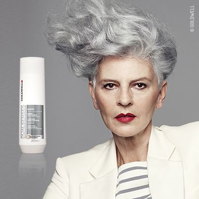 This image from the Goldwell Grey Campaign demonstrates grey enhancement services.