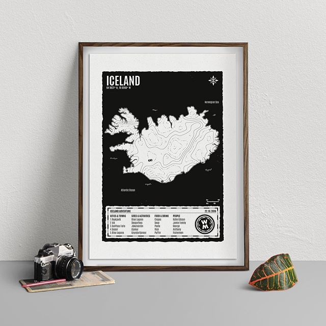 New colour, new paper! Black printed on the beaut @gfsmithpapers Gmund Weizen paper! #personalised #screenprinting #map #travel #iceland #print #adventure #paper