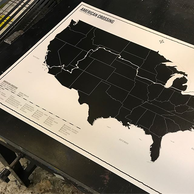 Custom USA Road trip - East Coast   West Coast! Came out looking great, on the @gfsmithpapers Weizen paper! #travel #screenprinting #map #USA #roadtrip #print #handmade