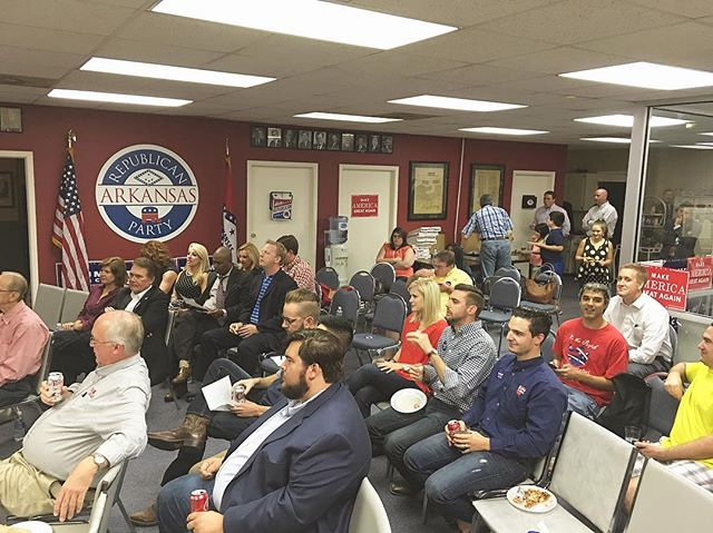 #debatenight watch party at the #ARGOP HQ in Little Rock! #makeamericagreatagain #republican #watchparty #arkansas #arpx