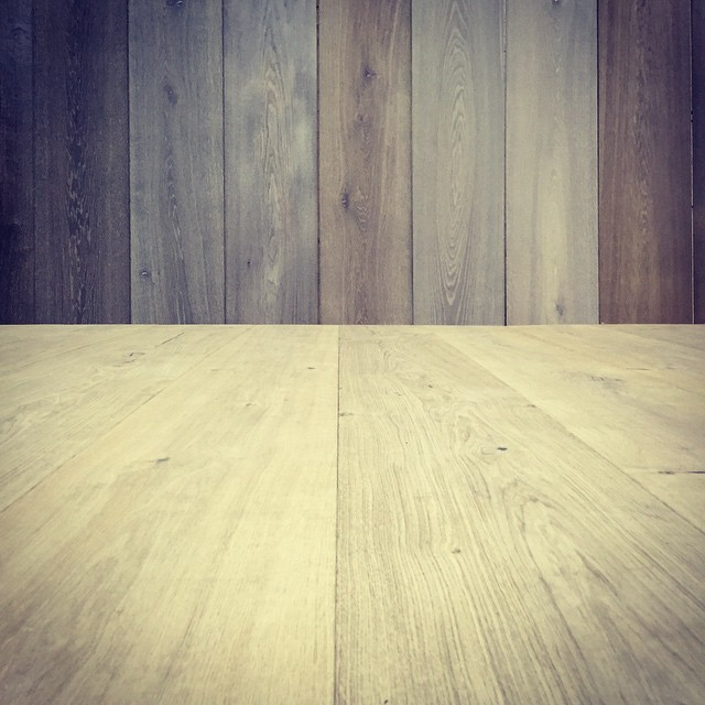 Prepping our display booth! Hand made German wood floors straight from the Black Forest #woodfloors #floors #germany #blackforest #interiors #design #construction #wideplankflooring
