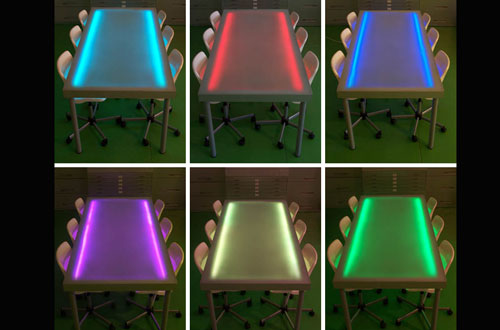 The I Beam Table Top Is Constructed From A Frosted, Polycarbonate,  Honeycomb Surface. A Series Of LED Lights Are Embedded Just Beneath The  Surface, ...