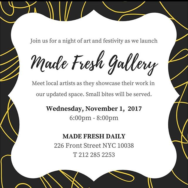 Come join us this Wensday November 1st 6-8pm, we will be having local artist showcase their work. You don't want to miss it! #madefreshdaily #lowermanhattan #southstreetseaport #localartist #fultonstreet
