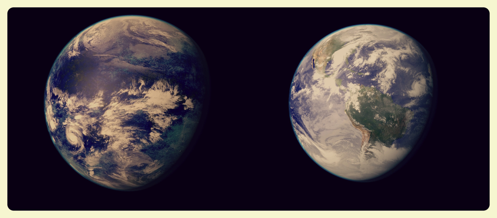 Kepler 186f next to our World (credit PHL @ UPR Arecibo, NASA)