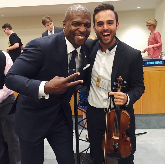 Actor and gender equality activist  Terry Crews  with 2015 Millennium Health Prize Winner  Pedro Piqueras  during the Awards Ceremony at MCC15 at the United Nations.