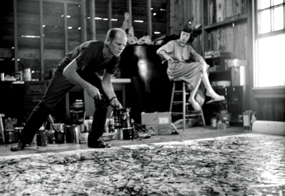 Lee Krasner watches her husband Jackson Pollock painting