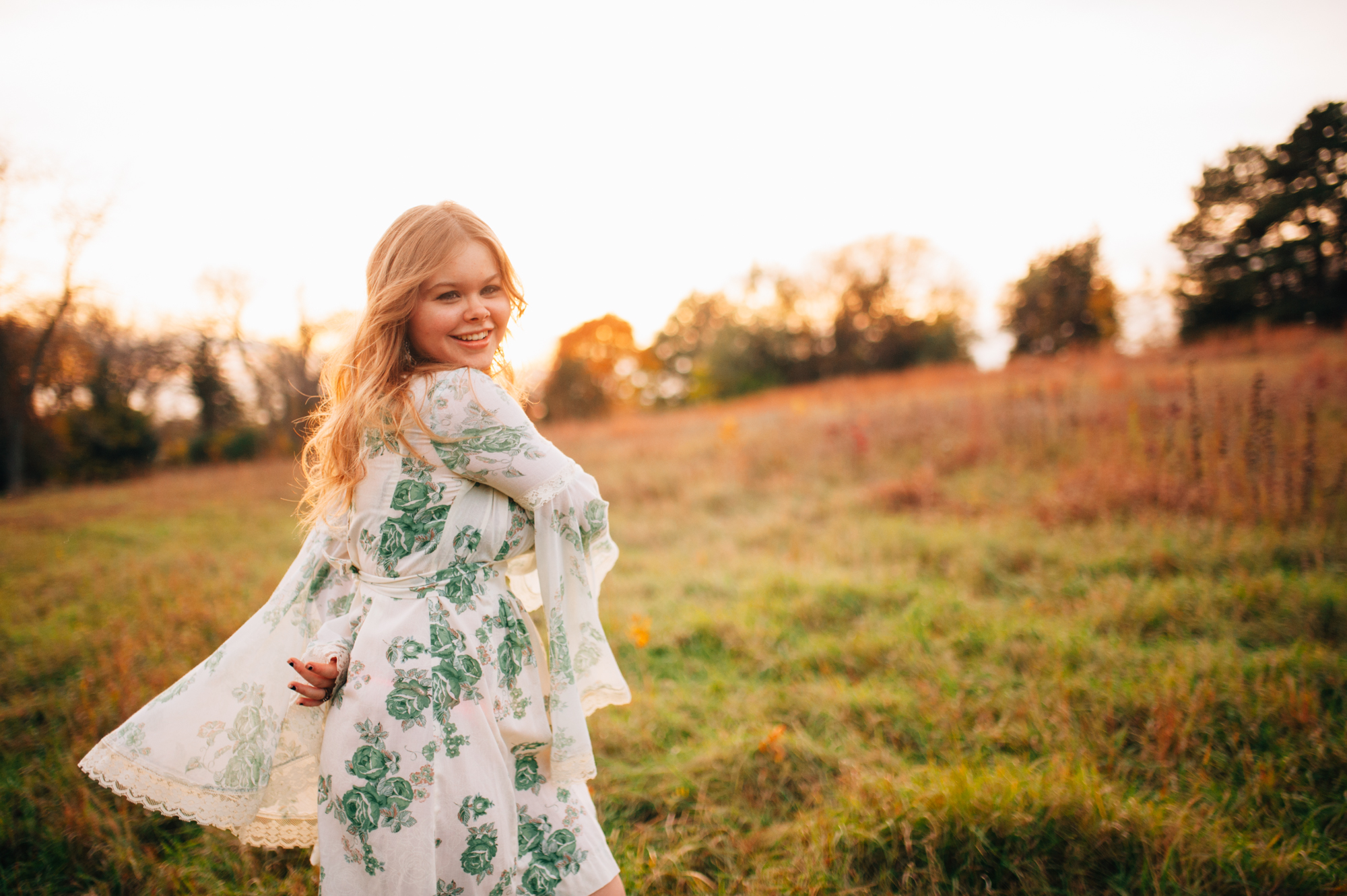 Flower child high school senior photo session in Lincoln, Nebraska by Tara Polly Photography.