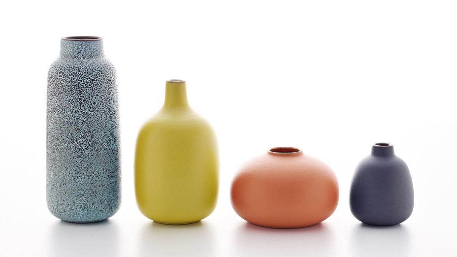 Cool Lava Multi Stem, Lemongrass Single Stem, Tangerine Bud and Indigo Bulb Vase | Heath Ceramics