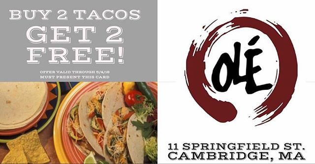 Like us on Facebook @olemexicanrestaurant and comment #FreeTacos to receive this special offer! #ole #olerestaurantgroup #mexicanfood #tacos #freetacos #cambridgema 🌮🌮🌮