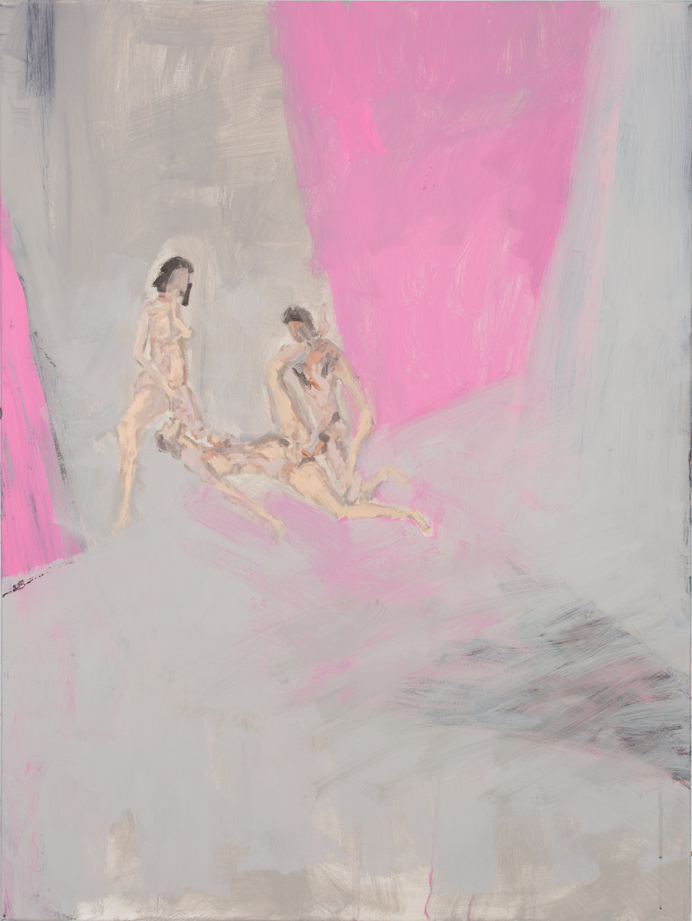 Bp Laval_Lovers Between Pink Panels_acrylic-oil on canvas_40%22X30%22_2016.jpg