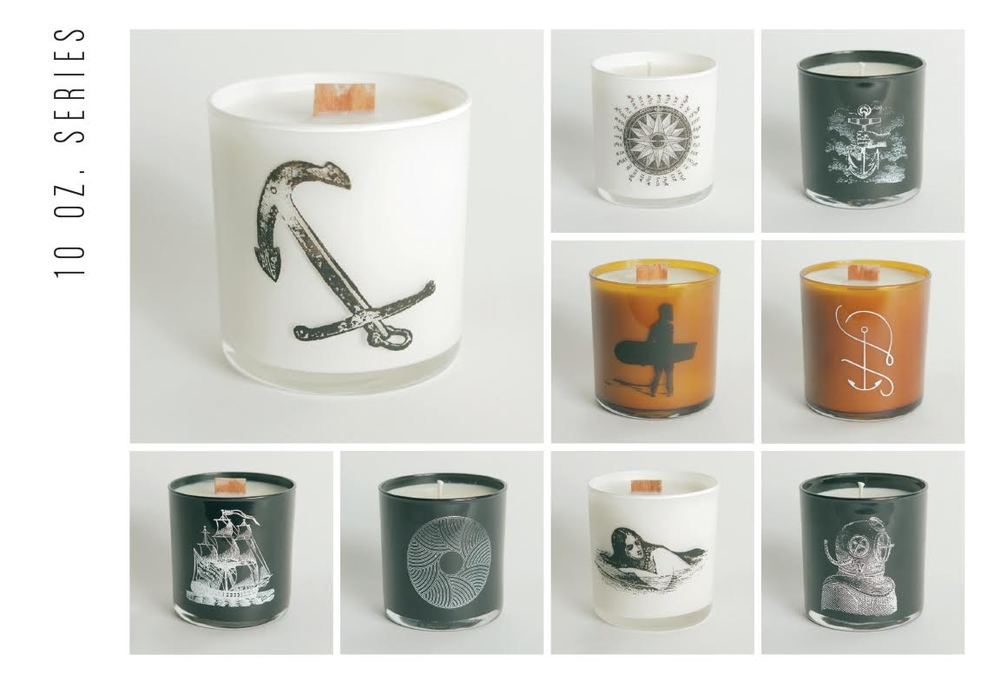 Helmsman Candle Co. makes soy wax candles in custom designed glass containers.